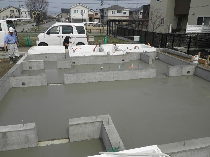 型枠を外したら土間コンクリートです